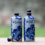 Salzglasur Essigflasche und Ölflasche