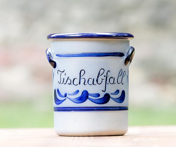 Handbemalter Tischabfalltopf Salzglasur